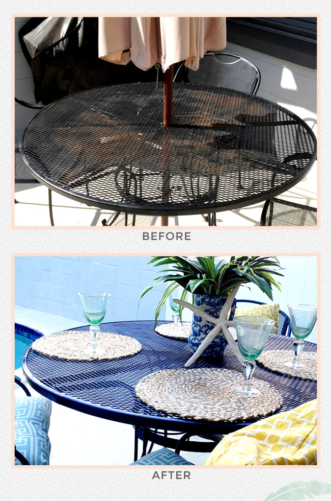 table before and after, blue table, outdoor furniture, ccuriosity.com